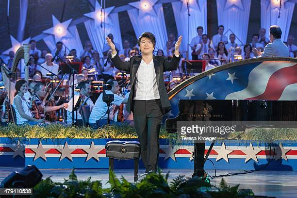 Pianist Lang Lang performs at A Capitol Fourth 2015 Independence Day Concert dress rehearsals on July 3 2015 in Washington DC