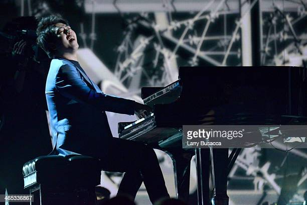 Pianist Lang Lang performs onstage during the 56th GRAMMY Awards at Staples Center on January 26 2014 in Los Angeles California