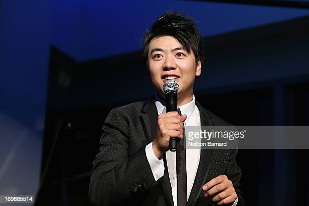 Pianist Lang Lang speaks onstage at The Lang Lang International Music Foundation Inaugural Gala supported by Montblanc at 10 on The Park on June 3...