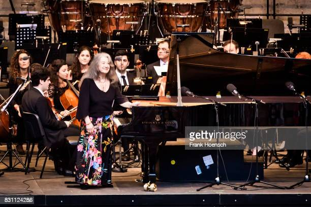 Pianist Martha Argerich and the WestEastern Divan Orchestra perform live during a concert at the Waldbuehne on August 13 2017 in Berlin Germany
