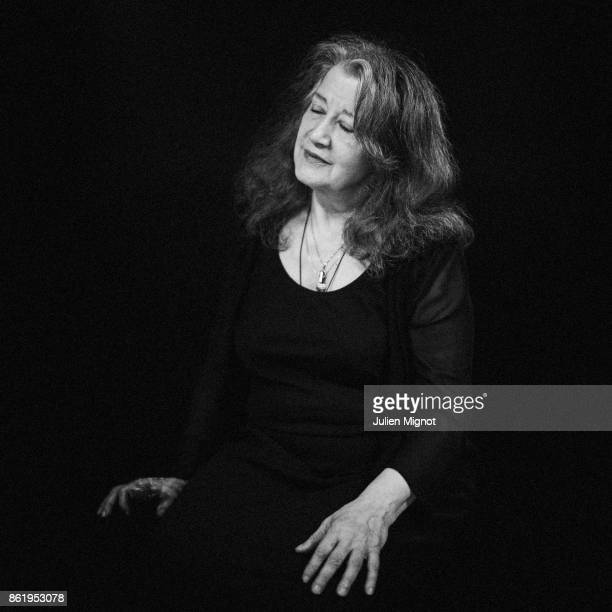 Pianist Martha Argerich is photographed for Self Assignment on April 2016 in Paris France