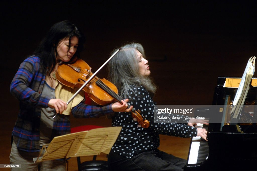 Pianist Martha Argerich perform her's concert with String Quartet, here with her's daughter Lyda Chen and Enrico Bronzi for Bologna Festival at Manzoni theatre on May 20, 2010 in Bologna, Italy.