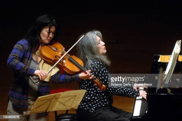 Pianist Martha Argerich perform her's concert with String Quartet here with her's daughter Lyda Chen and Enrico Bronzi for Bologna Festival at...