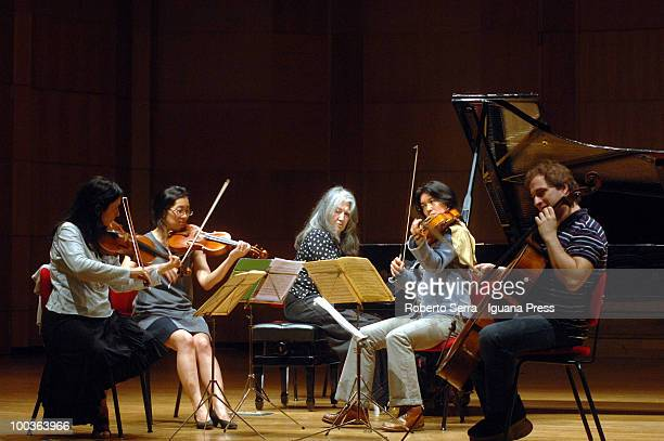 Pianist Martha Argerich perform her's concert with String Quartet Sonig Tchakerian Gabrielle Shek Lyda Chen and Enrico Bronzi for Bologna Festival at...