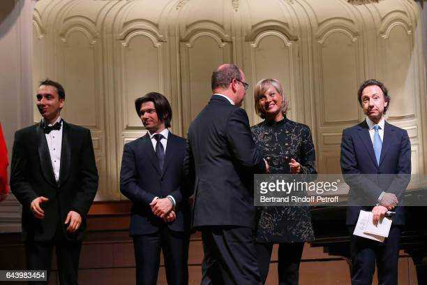 Pianist Miroslav Kultyshev cellist Gautier Capucon Prince Albert II de Monaco pianist Helene Mercier and Stephane Bern attend the celebration of the...