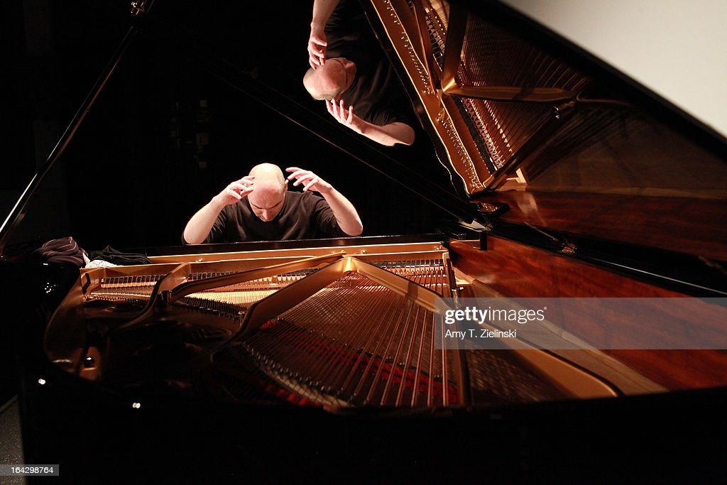 Pianist Nick van Bloss performs Bach's Goldberg Variations during rehearsal at a Steinway grand piano on stage in Cine Lumiere during 'It's All About Piano!' festival inside the The Institut Francais on March 22, 2013 in London, England. The festival is a collaboration from French Music Office to celebrate the piano with recitals from classical to jazz, film screenings, children's activities, workshops and cinema screenings exploring the musical instrument.