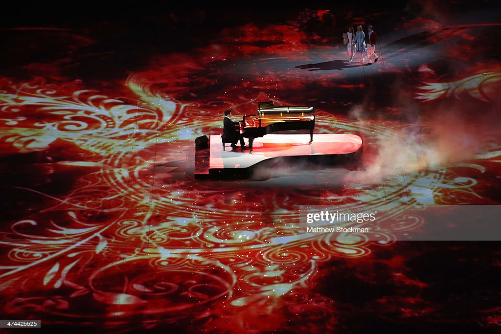 A pianist peforms a celebration of Russian music during the 2014 Sochi Winter Olympics Closing Ceremony at Fisht Olympic Stadium on February 23, 2014 in Sochi, Russia.