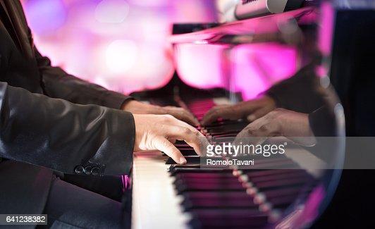 Pianist Playing Grand Piano : Stock Photo