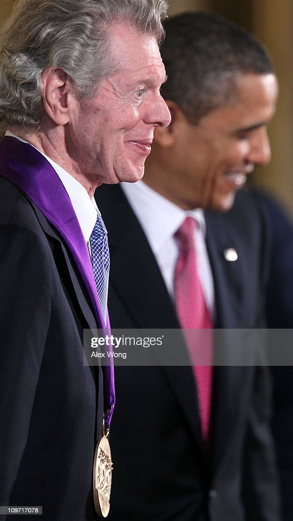 Pianist Van Cliburn is presented with the 2010 National Medal of Arts by US President Barack Obama during an East Room ceremony March 2 2011 at the...