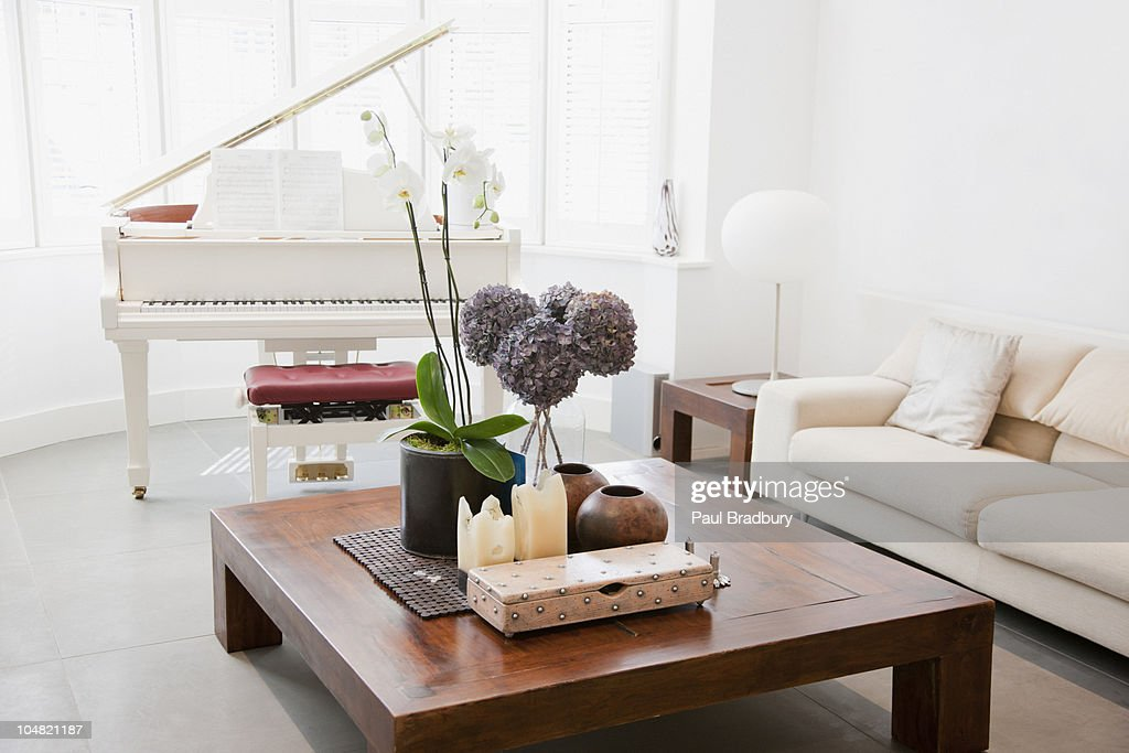 Piano and furniture in living room : Stock Photo