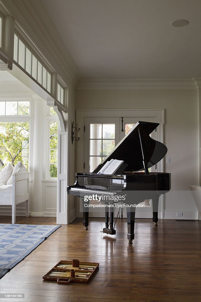 Piano in living room : Stock Photo