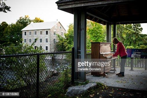 Piano in the park in a gazebo in Manotick