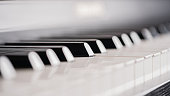 Piano keys and sheet music.Piano keys and sheet music.