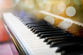 Piano keys and  beautiful bokeh