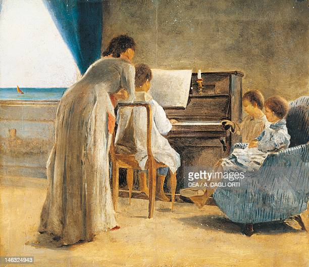 Piano lesson 18661867 by Adriano Cecioni oil on canvas 29X34 cm