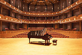 Piano on stage in empty theater