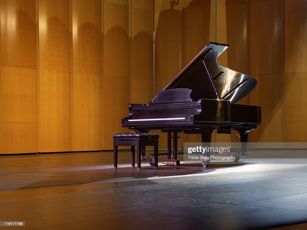 Piano on stage : Stock Photo