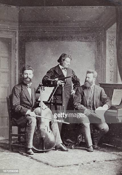 PianoTrio with Robert Hausmann Heinrich de Ahna Karl Heinrich Barth About 1885 Photograph by F C Schaarwächter / Berlin Photograph KlavierTrio mit...