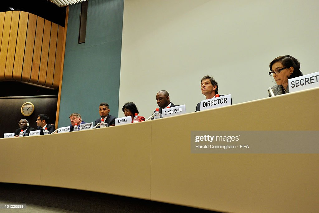 Piara Powar, FARE Network, Executive Director, William Gaillard, UEFA Senior Advisor, Kevin-Prince Boateng of AC Milan and Ghana, Navi Pillay, UN High Commissioner for Human Rights, Patrick Vieira, Football Development Executive at Manchester City Football Club, and Federico Addiechi, FIFA Head of Corporate Social Responsibility, and guest attend the discussion panel on the International Day for the Elimination of Racial Discrimination at United Nations Office in Geneva on March 21, 2013 in Geneva, Switzerland. On the United Nations' (UN) International Day for the Elimination of Racial Discrimination, the Office of the High Commissioner for Human Rights (OHCHR) see today as a unique opportunity to celebrate diversity and urged all sportswomen and sportsmen, sports authorities and fans to take decisive action against intolerance and racism in sports and celebrate human achievement and excellence beyond the narrow boundaries of ethnicity, race or nationality.