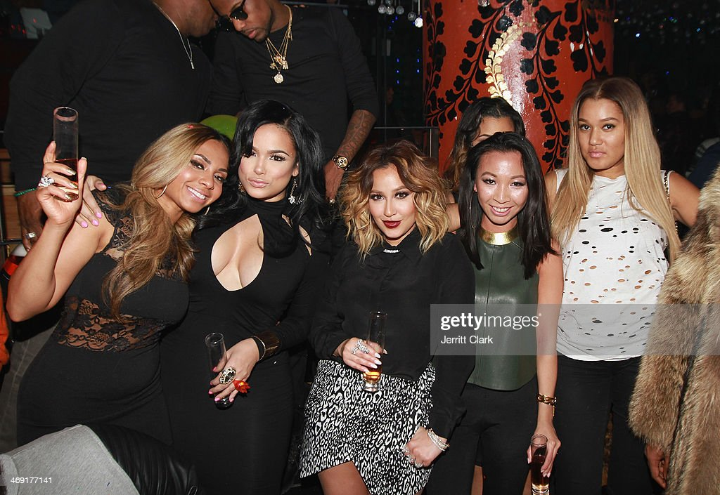Piarry Oriol, Emily B., <a gi-track='captionPersonalityLinkClicked' href=/galleries/search?phrase=Adrienne+Bailon&family=editorial&specificpeople=540286 ng-click='$event.stopPropagation()'>Adrienne Bailon</a>, Elizabeth Keily and Elaina Watley attend Emily B.'s Birthday Party at Greenhouse on February 11, 2014 in New York City.