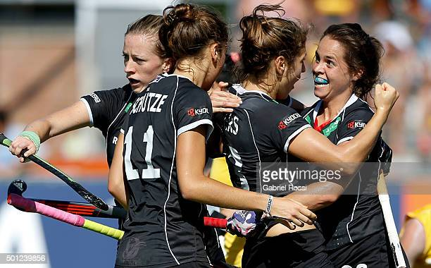 PiaSophie Oldhafer of Germany and teammates celebrate their team's first goal during the bronze medal match between China and Germany as part of Day...