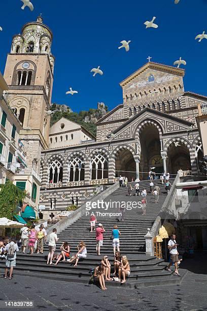 Piazza and Duomo di Sant Andrea, Amalfi, Campania, Italy