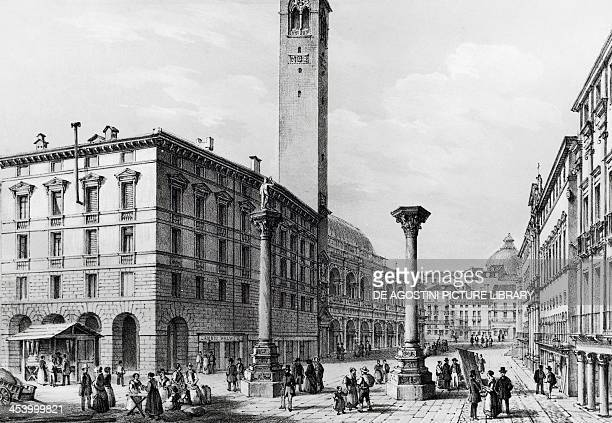 Piazza dei Signori in Vicenza lithograph from Vicenza and its province by Marco Moro Italy 19th century Vicenza Museo Civico Palazzo Chiericati