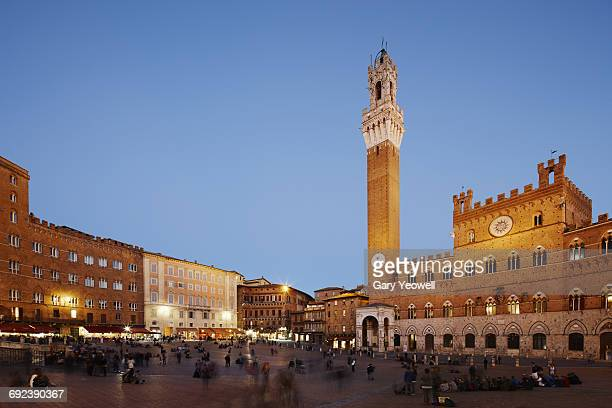 Piazza del Campo and Campanile at dusk, Siena