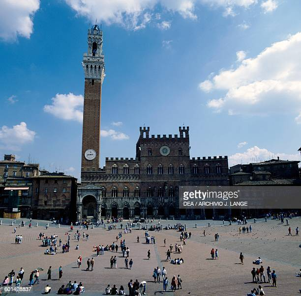 Piazza del Campo with Palazzo Pubblico and Mangia Tower Siena Tuscany Italy