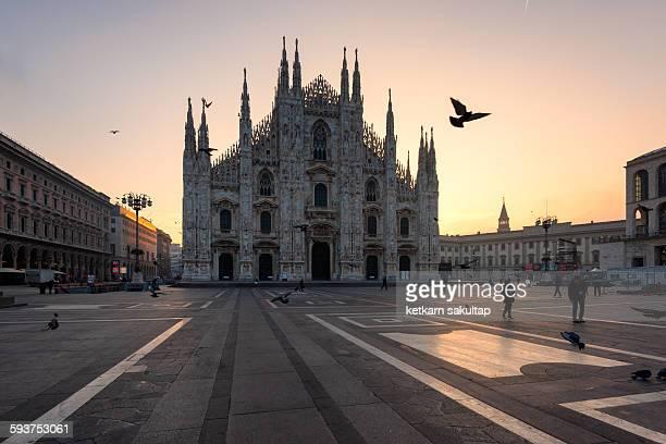 Piazza del Duomo at sunrise, Milan, Italy