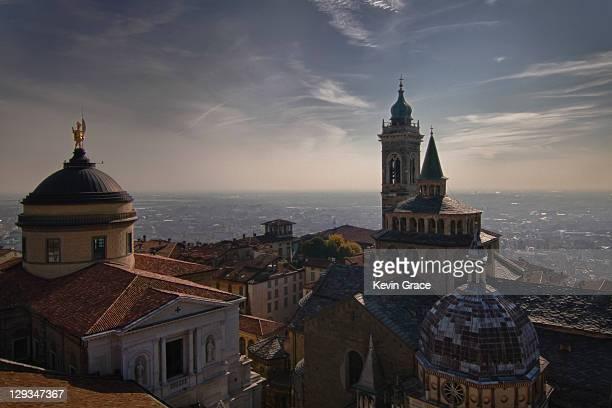 Piazza del Duomo in Bergamo Alta, Italy.