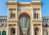 Piazza del Duomo, Galleria Vittorio Emanuele II, Milan, Lombrady, Northern Italy. iOne of the world's oldest shopping malls. Housed within a four-story double arcade in central Milan. Named after Vict