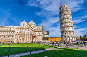 Italy, Pisa, Piazza del Duomo - shot at the monuments in piazza del duomo where there is the famous leaning tower of Pisa