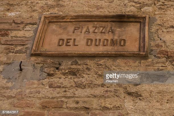 Piazza Del Duomo (sign), San Gimignano, Italy