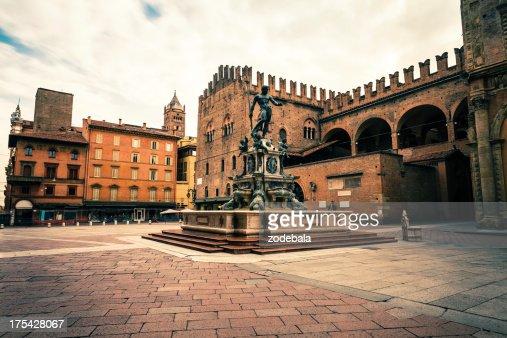 Piazza del Nettuno in Bologna, Italy Landmark