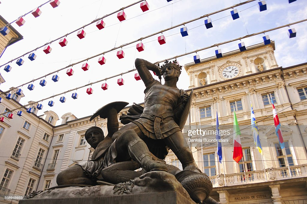 Piazza delle Erbe, seat of Turin City Hall and statue, Turin, Piedmont, Italy
