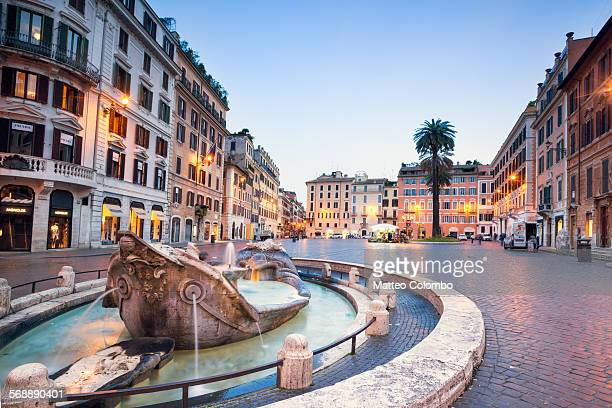 Piazza di Spagna illuminated at dusk, Rome, Italy