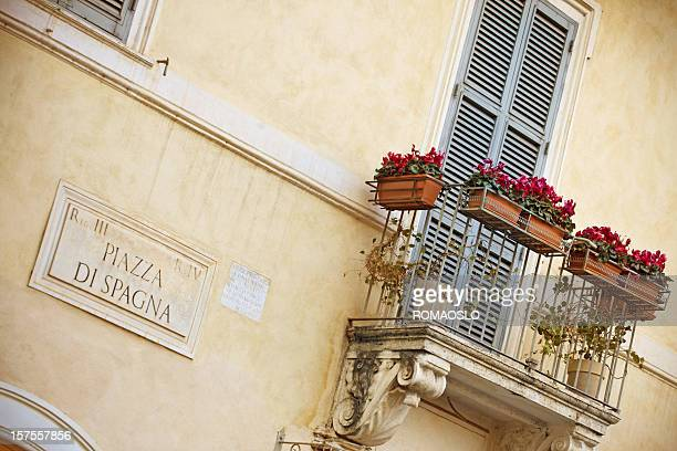 Piazza di Spagna marble sign and balcony