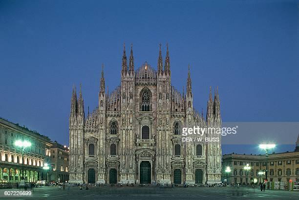 Piazza Duomo at night Milan Lombardy Italy