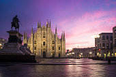 Milan, Italy: Piazza Duomo with the Milan cathedral at dawn