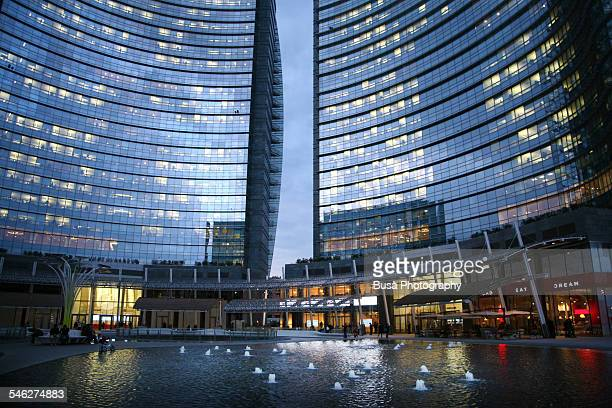 Piazza Gae Aulenti in Milan at twilight
