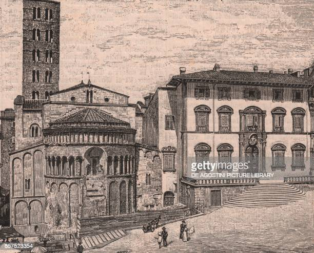 Piazza Grande with the apse of Santa Maria della Pieve and the Tribunal Palace Arezzo Tuscany Italy woodcut from Le Cento citta d'Italia illustrated...