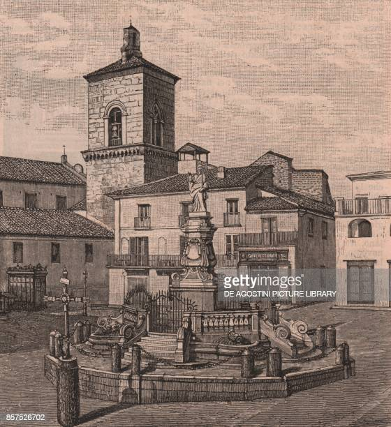 Piazza Orsini with the fountain of the chains topped by the statue of Benedict XIII Benevento Campania Italy woodcut from Le Cento citta d'Italia...