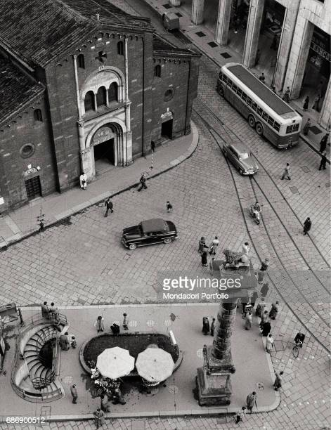 Piazza San Babila in Milan with the stairs to the public toilets This picture is taken from the monography 'Mario De Biasi Il mio sogno Š qui'...