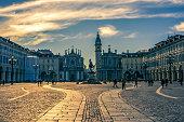Piazza San Carlo, Turin, Italy at sunset