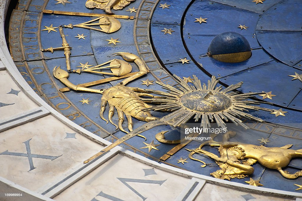 Piazza (square) San Marco, Clock Tower detail : Stock Photo