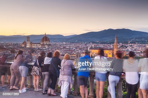 Piazzale Michelangelo in the city of Florence : Stock Photo