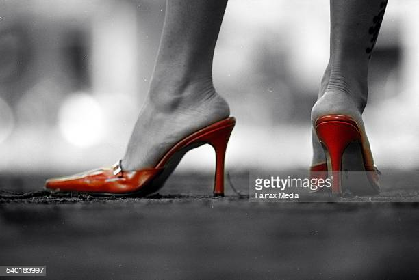 Pic by Tanya Lake women in business red stilletto stillettos shoes high heel heeled executive female corporate mother power super woman