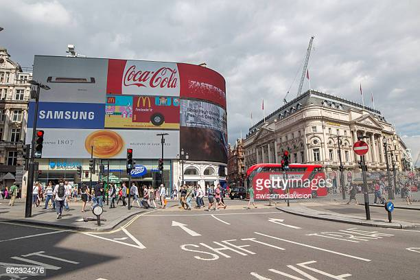 Picadilly Circus in London with double decker bus