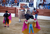 Picador and bull in the arena Aracena Andalusia Spain